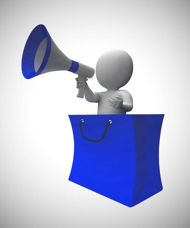 Megaphone used to make an announcement of discounts and promotions. Cheap reductions and reduced prices - 3d illustration