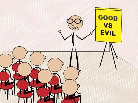 Evil Versus Good Teacher Means Faith In God Or The Devil. Choice Of Honest And Decent Or Hate - 3d Illustration Stock Photo