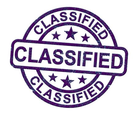 Classified stamp icon for restricted or confidential access. A security measure on important documents - 3d illustration