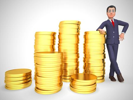 Businessman gold coins stack shows great business profits.  Wealth and prosperity for retirement - 3d illustration Reklamní fotografie - 124891328