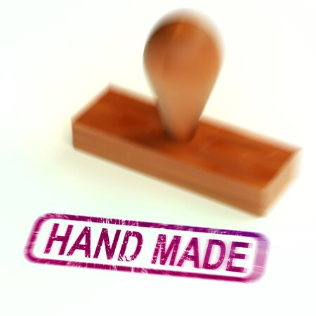 Handmade stamp means products crafted by an artisan. Hand carved or hand woven exotic products - 3d illustration