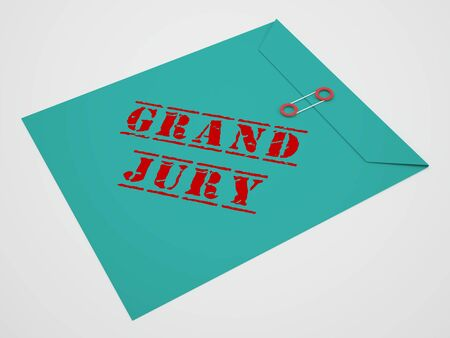 Grand Jury Court Envelope Shows Government Trials To Investigate Injustice 3d Illustration. Courtroom Inquiry And Legal Litigation