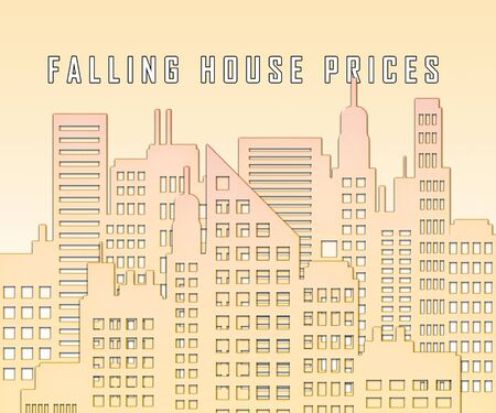 Falling House Prices City Represents Property Recession Or Crash. Overvalued Homes Have Price Reduction During Deflation - 3d Illustration Imagens - 124891372