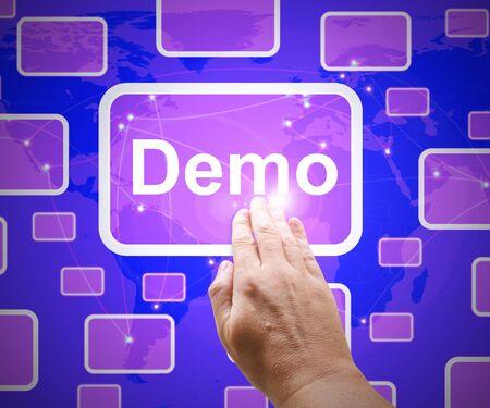 Demo-Symbol, das eine Produkt-Beta-Software demonstriert. Eine Blaupause oder ein maßstabsgetreues Modell - 3D-Darstellung