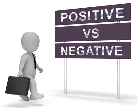 Positive Vs Negative Sign Depicting Reflective State Of Mind. Motivation And Optimism Versus Pessimism - 3d Illustration Reklamní fotografie