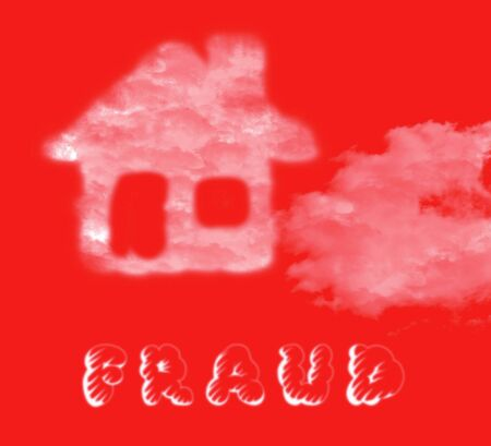 Mortgage Fraud Cloud Represents Property Loan Scam Or Refinance Con. Fraudster Doing Hoax For Finance Or Equity Release - 3d Illustration Reklamní fotografie - 124891379