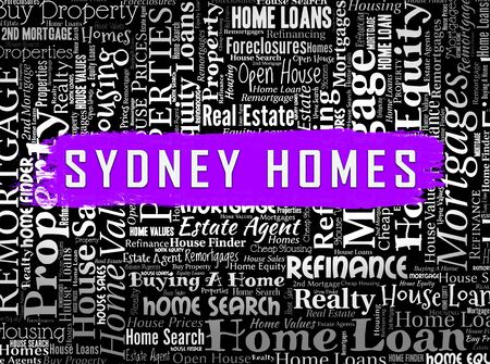 Luxury Home Sydney Wordcloud Showing High Class Accomodation In Australia. Upscale Mansion Or Luxurious Renovation - 3d Illustration Imagens - 124891398