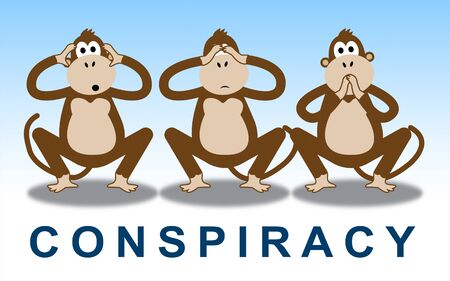 Government Conspiracy Monkeys Meaning Usa Leadership Conspiring With Foreign Leaders 3d Illustration. Dishonest Politicians Scheming And Misleading