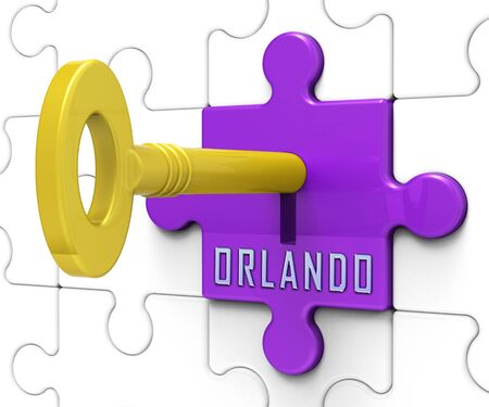 Orlando Home Real Estate Key Depicts Florida Realty And Rentals. Apartment Or House Buying Broker Downtown - 3d Illustration Imagens