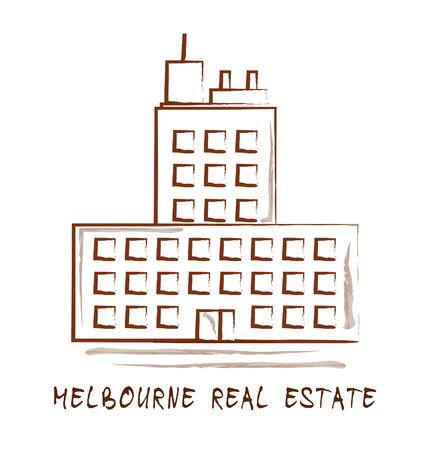Melbourne Real Estate Property Building Representing Australian Realty In Victoria. Urban Downtown Waterfront Residences - 3d Illustration