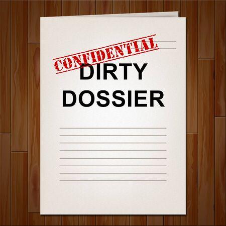 Cartella di dossier sporca contenente informazioni politiche sull'illustrazione 3d del presidente americano. Dati investigativi dallo spionaggio in Russia