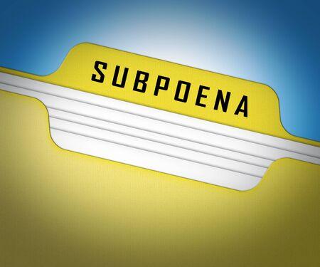 Court Subpoena Folder Represents Legal Duces Tecum Writ Of Summons 3d Illustration. Judicial Document To Summon A Witness Stok Fotoğraf
