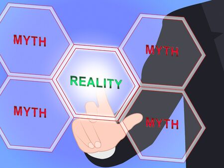 Myth Versus Reality Word Showing False Mythology Vs Real Life. Truth And Sincerity Against Fantasy - 3d Illustration Stock Photo