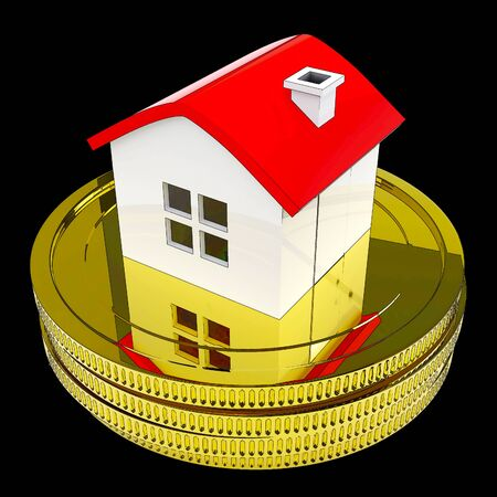 Pay Off Mortgage Coins Showing Housing Loan Payback Complete. Debt On House Or Apartment Repaid - 3d Illustration Reklamní fotografie - 124891552