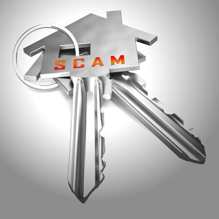 Property Scam Hoax Key Depicting Mortgage Or Real Estate Fraud. Residential Properties Realty Swindle - 3d Illustration Imagens - 124891591