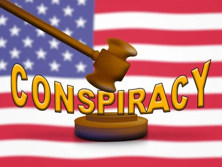 Conspiracy Theory Gavel Representing American Collusion With Russians 3d Illustration. Secret Meetings To Commit Treason Against The Usa