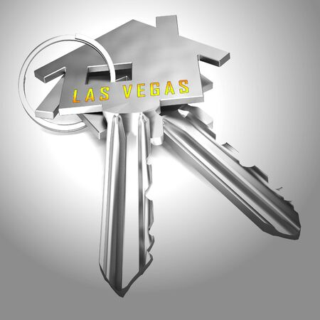 Las Vegas Real Estate Key Depicts Houses And Homes In Nevada. Property Purchases And Development Sales - 3d Illustration