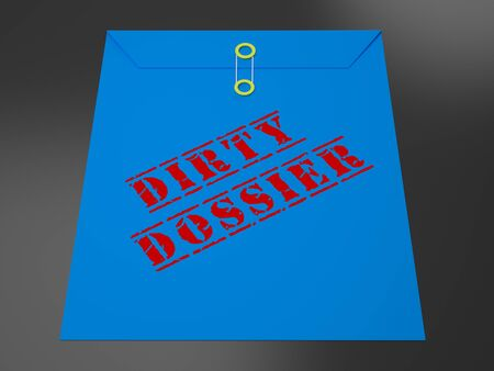 Dirty Dossier Envelope Containing Political Information On The American President 3d Illustration. Investigation Data From Spying On Russia