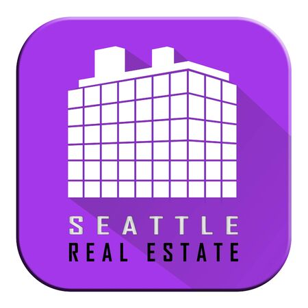 Seattle Real Estate Property Building Depicting Housing In Washington State. Houses And Apartments In The Coastal City - 3d Illustration Stock Photo