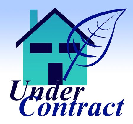 Home Under Contract Icon Depicting Real Estate Purchase Completed. Legal Documents Finished And House Offer Agreed  - 3d Illustration Imagens
