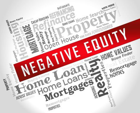 Negative Equity Wordcloud Shows Losses Or Debt Bigger Than House Value. Economic Downturn Causes Bankruptcy And Failure - 3d Illustration