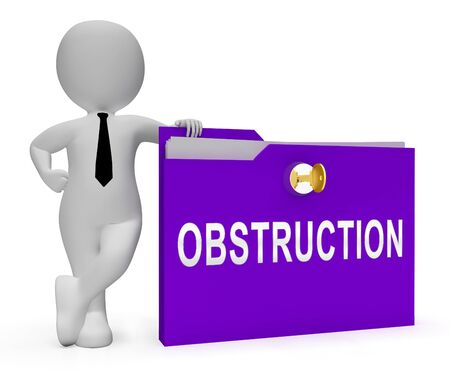 Obstruction Of Justice In Politics Folder Meaning Hindering Political Cases Or Congress 3d Illustration. Legislation Process Blocked Or Hindered.