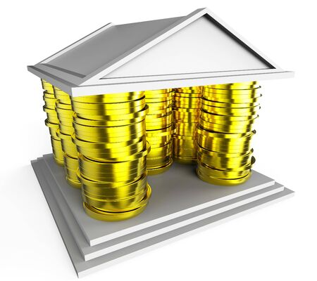 Homebuyer Coins Illustrates Buying A Home, Apartment Or House. Housing Ownership Using Mortgage Or Cash - 3d Illustration Imagens