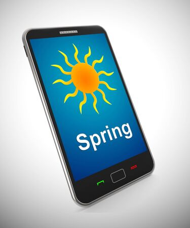 Spring weather on a mobile phone app shows heatwave. Climate getting hotter in springtime - 3d illustration