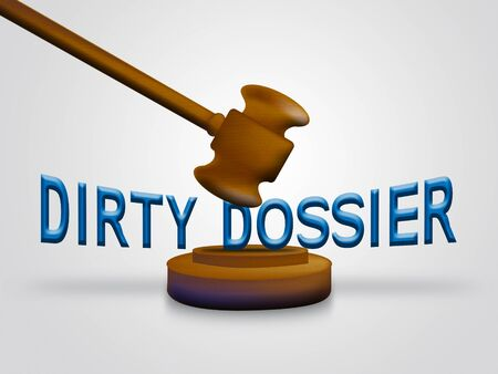 Dirty Dossier Gavel Containing Political Information On The American President 3d Illustration. Investigation Data From Spying On Russia
