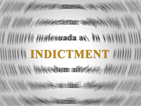 Grand Jury Indictment Word Representing Prosecution And Enforcement Against Defendant 3d Illustration. Federal Crime And Legal Judgement Stok Fotoğraf