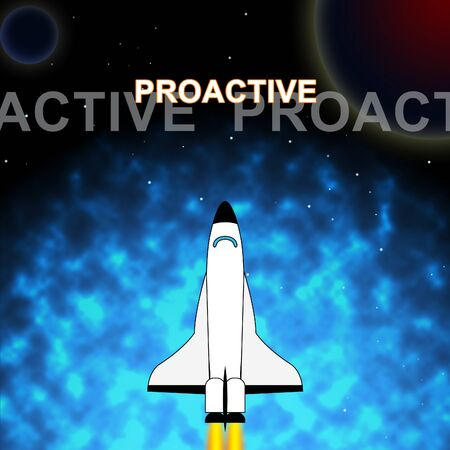 Proactive Vs Reactive Words Representing Taking Aggressive Initiative Or Reacting. Taking Charge Versus Late Action - 3d Illustration