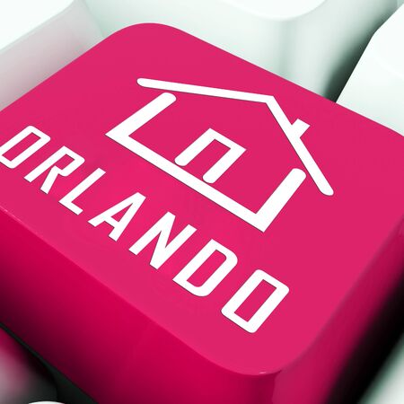Orlando Home Real Estate Key Depicts Florida Realty And Rentals. Apartment Or House Buying Broker Downtown - 3d Illustration Stock Photo