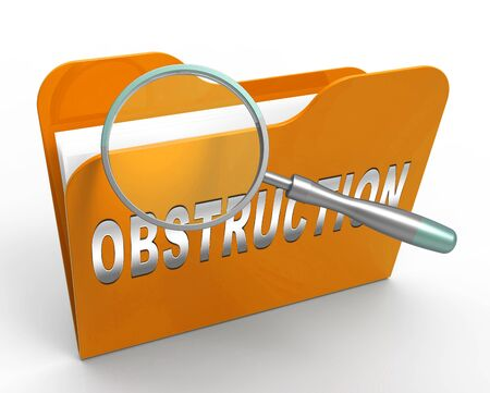 Obstruction Of Justice And Corruption Folder Meaning Impeding A Legal Case 3d Illustration. Hindering The Process Of Law