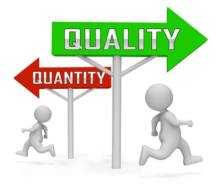 Quality Vs Quantity Signpost Depicting Balance Between Product Or Service Superiority Or Production. Value Versus Volume - 3d Illustration Banco de Imagens