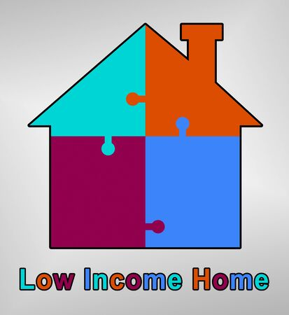 Low Income Homes And Houses Icon For Poverty Stricken Renters And Buyers. Inexpensive Budget Property In The City - 3d Illustration Standard-Bild - 124892011