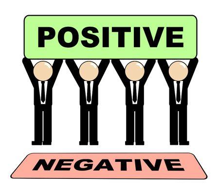 Positive Versus Negative Sign Depicting Reflective State Of Mind. Motivation And Optimism Vs Pessimism - 3d Illustration Stock Photo