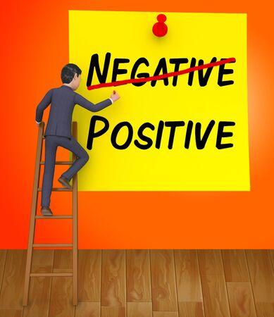Positive Vs Negative Note Depicting Reflective State Of Mind. Motivation And Optimism Versus Pessimism - 3d Illustration