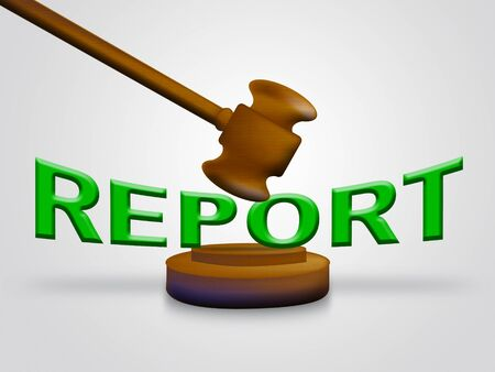 Impact Report Gavel Shows A Summary Or Writing Of Evidence And Results 3d Illustration. Business Data Or Political Information