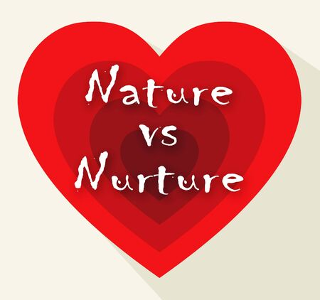 Nature Vs Nurture Hearts Means Theory Of Natural Intelligence Against Development Or Family Growth From Love- 3d Illustration Banco de Imagens