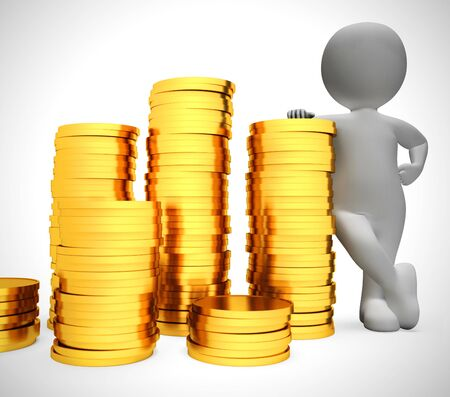 Gold coins in a stack depict wealth and ready money. A reserved fund of cash and income - 3d illustration 写真素材