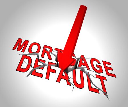 Mortgage Default Arrow Depicting Home Loan Overdue Or Shortfall. Failure To Pay Off Line Of Credit Debt - 3d Illustration 写真素材
