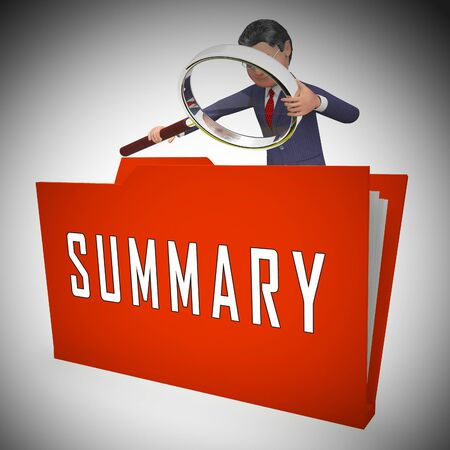 Executive Summary Folder Icon Showing Short Condensed Report Roundup 3d Illustration. Summing Up Information Or Analysis