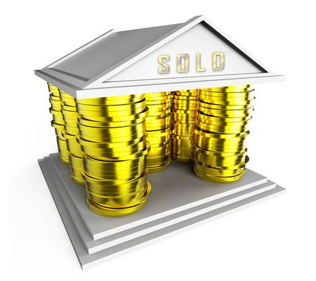 Uk House Sold Icon Illustrates Selling Property In The United Kingdom. British Real Estate Divested  - 3d Illustration