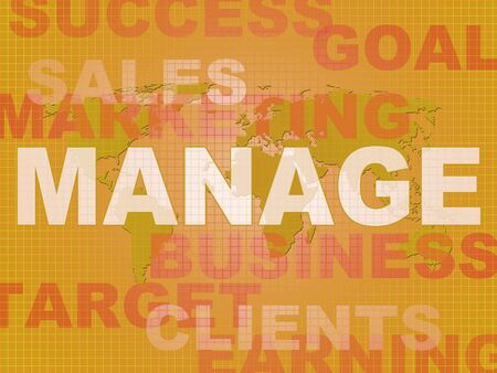 Manage concept icon means supervising and overseeing an operation. Management and controlling a business Project - 3d illustration