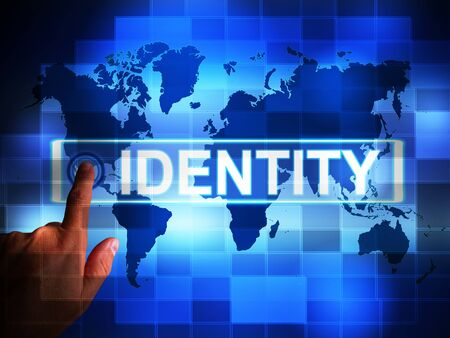 Identity access means verification and authentication control. Using biometrics to get onto a computer network - 3d illustration 스톡 콘텐츠