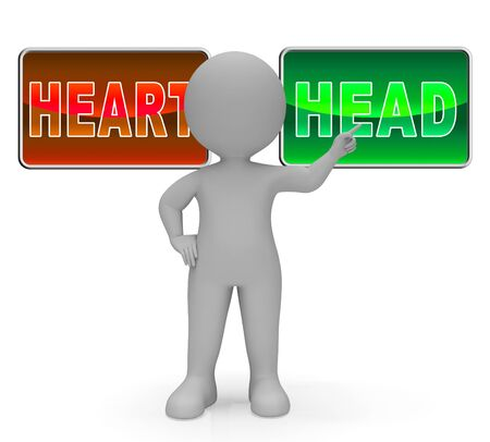 Head Vs Heart Sign Portrays Emotion Concept Against Logical Thinking. Cerebral Reason Versus Soul And Feeling - 3d Illustration Stock Photo