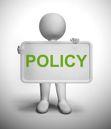 Policy concept icon means rules or approach and procedure. A general guidance for compliance to the regulations - 3d illustration Stock Photo