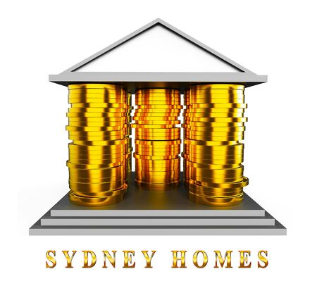 Luxury Home Sydney Coins Icon Showing High Class Accomodation In Australia. Upscale Mansion Or Luxurious Renovation - 3d Illustration Imagens