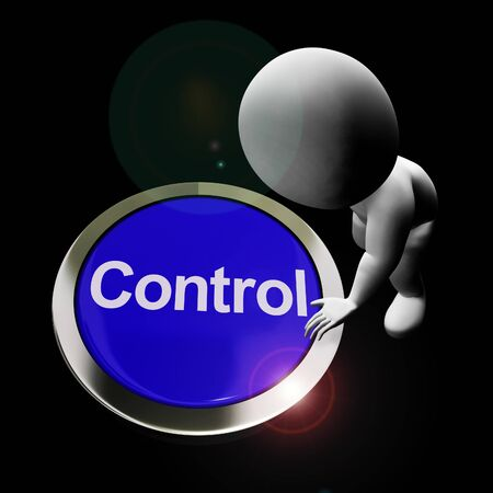 Control button used to regulate or operate remote machinery. A push switch interface and controls system - 3d illustration
