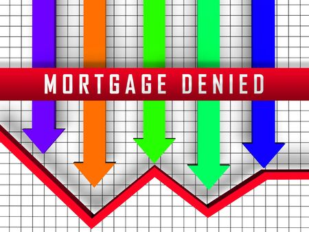Mortgage Denied Arrow Demonstrates Property Purchase Loan Turned Down. House Or Apartment Line Of Credit Refused - 3d Illustration